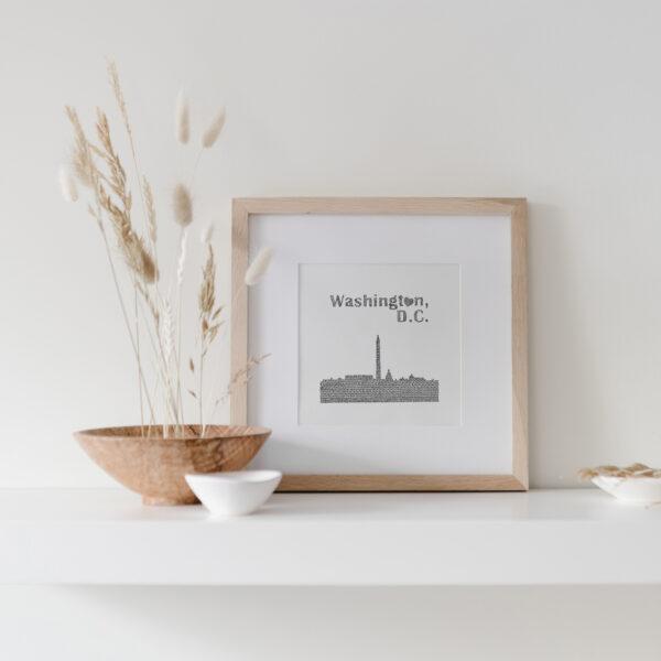 Washington DC Skyline Art Print framed on display