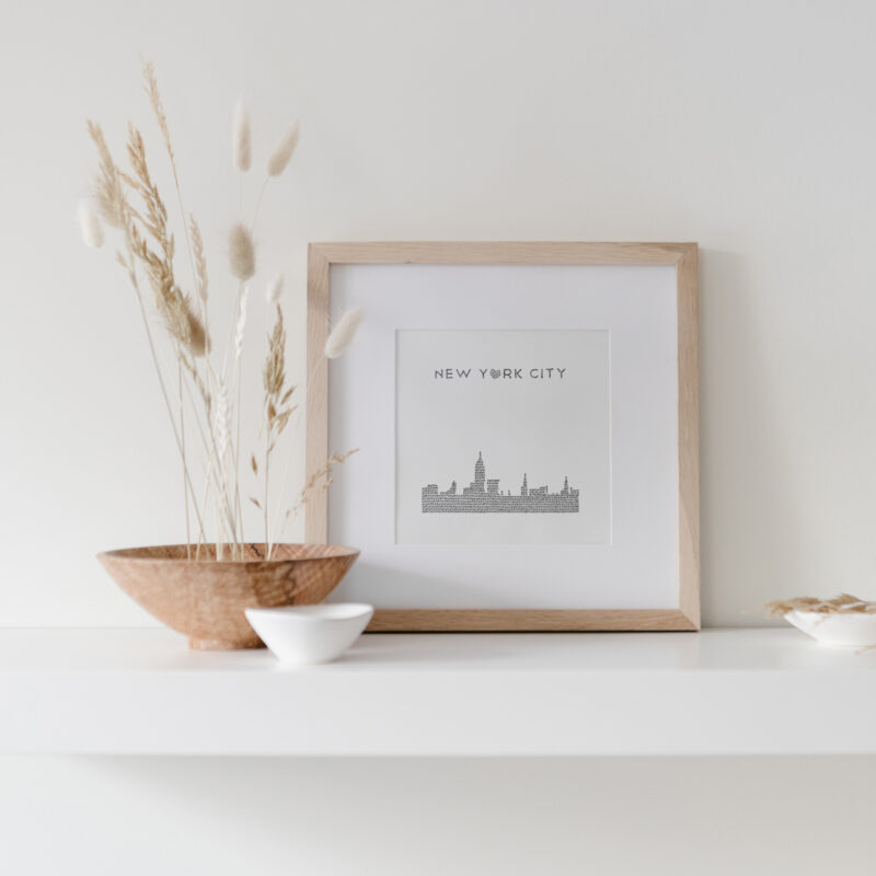 New York City Skyline Art Print framed on display