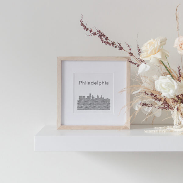 Philadelphia Skyline Art Print framed on display