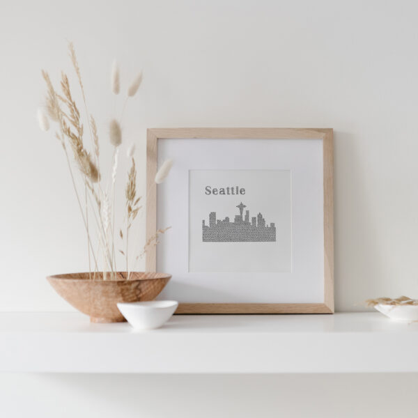 Seattle Skyline Art Print framed on display