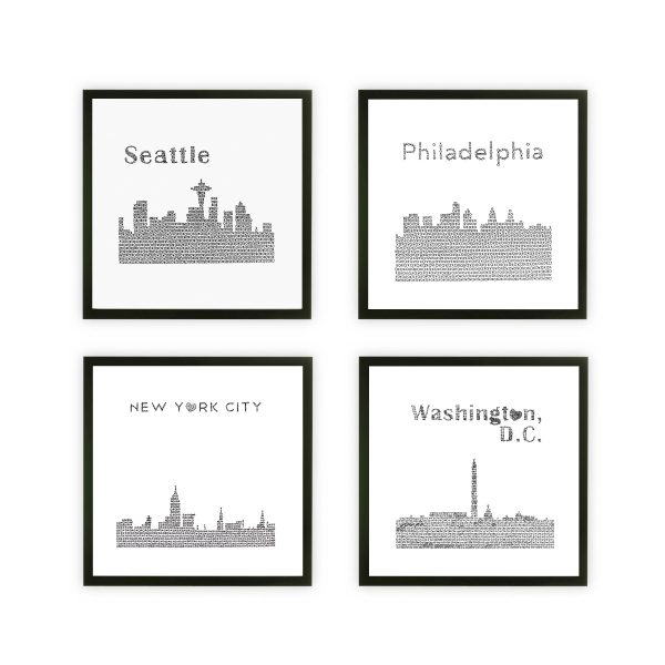 Framed four skylines