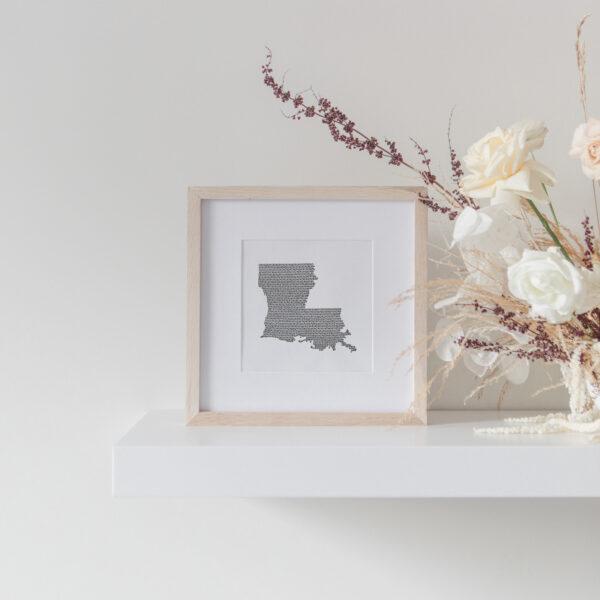 Louisiana State Art Print framed on display