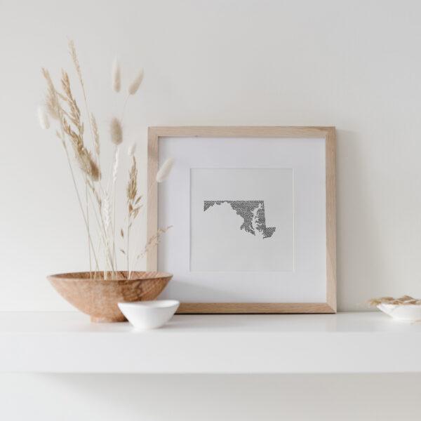 Maryland State Art Print framed on display