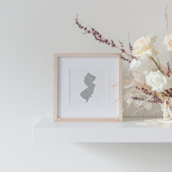New Jersey State Art Print framed on display