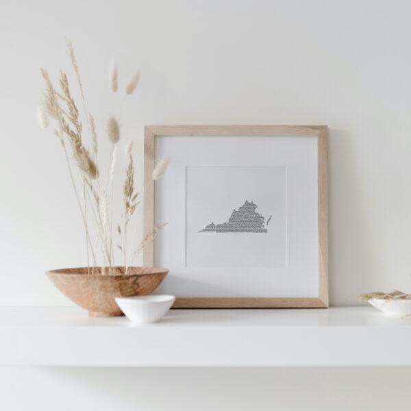 Virginia State Art Print framed on display