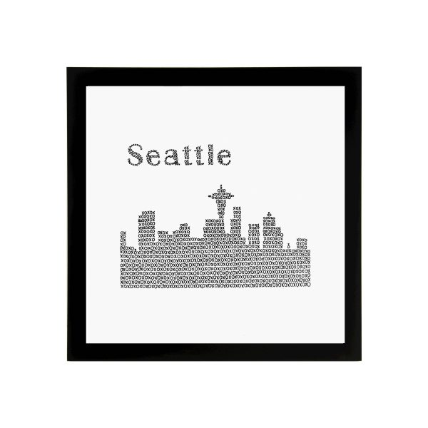 Framed 8in x 8in Seattle Skyline Art Print