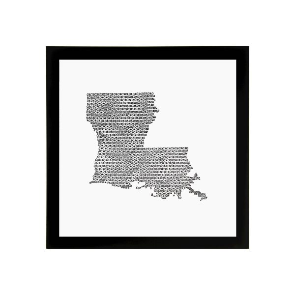 Framed State of Louisiana Art Print