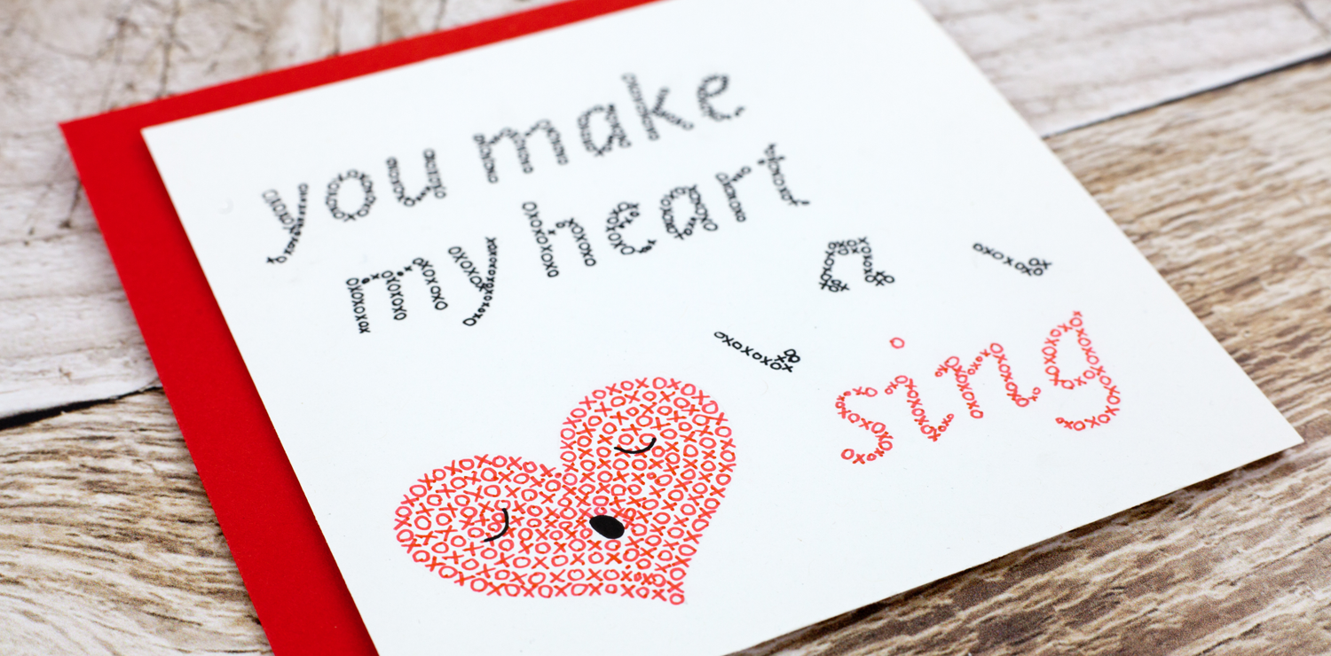 Exclusive Stationery Heart and Art Cottage Valentine's Day Card You Make My Heart Sing