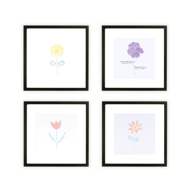 Framed Four 5in x 5in Flower Art Prints