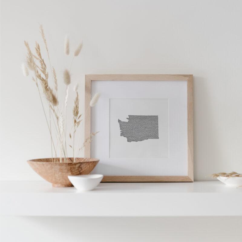 Shop Prints - Washington State Art Print framed on display