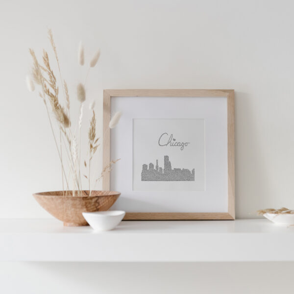 Chicago Skyline Art Print framed on display