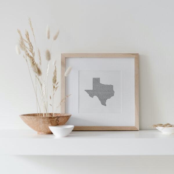 Texas State Art Print framed on display